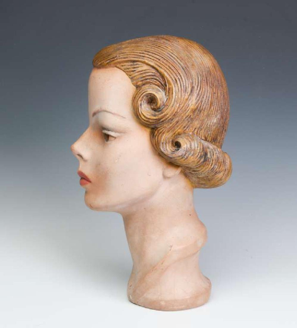 A NICE PAINTED PLASTER MANNEQUIN HEAD CIRCA 1940 - 7