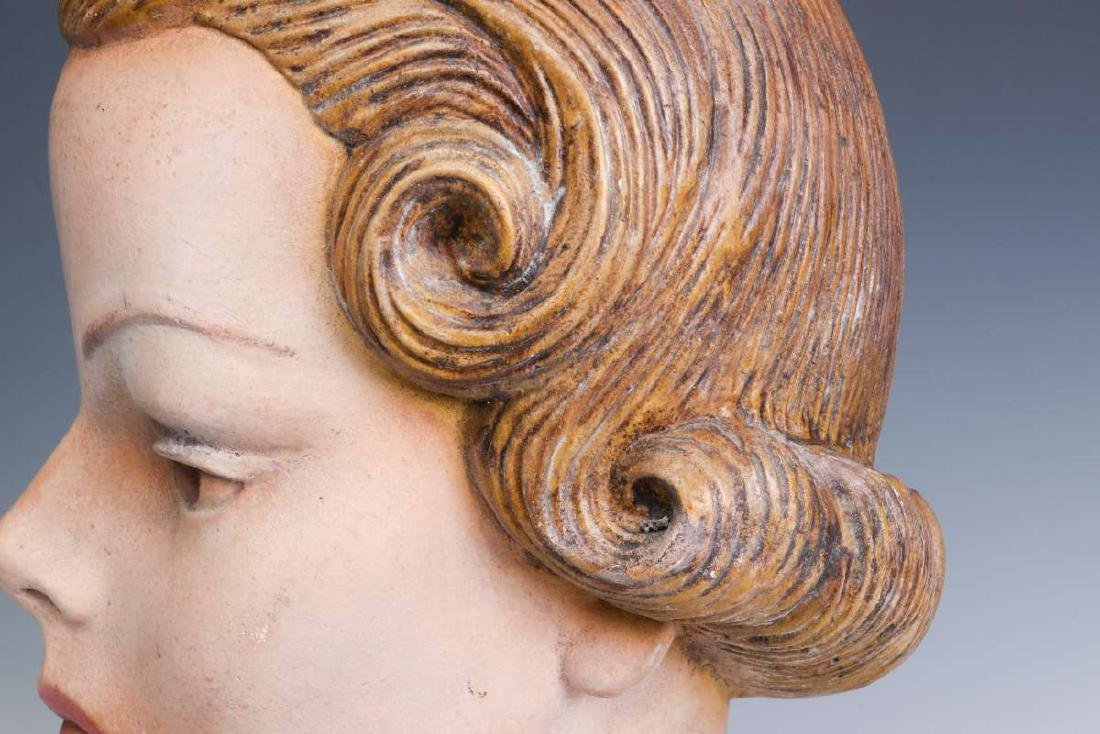 A NICE PAINTED PLASTER MANNEQUIN HEAD CIRCA 1940 - 8