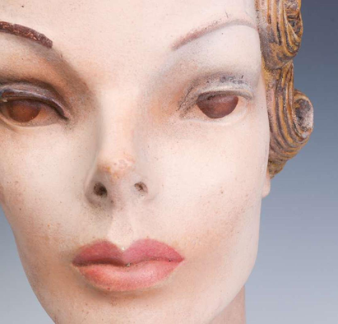 A NICE PAINTED PLASTER MANNEQUIN HEAD CIRCA 1940 - 9