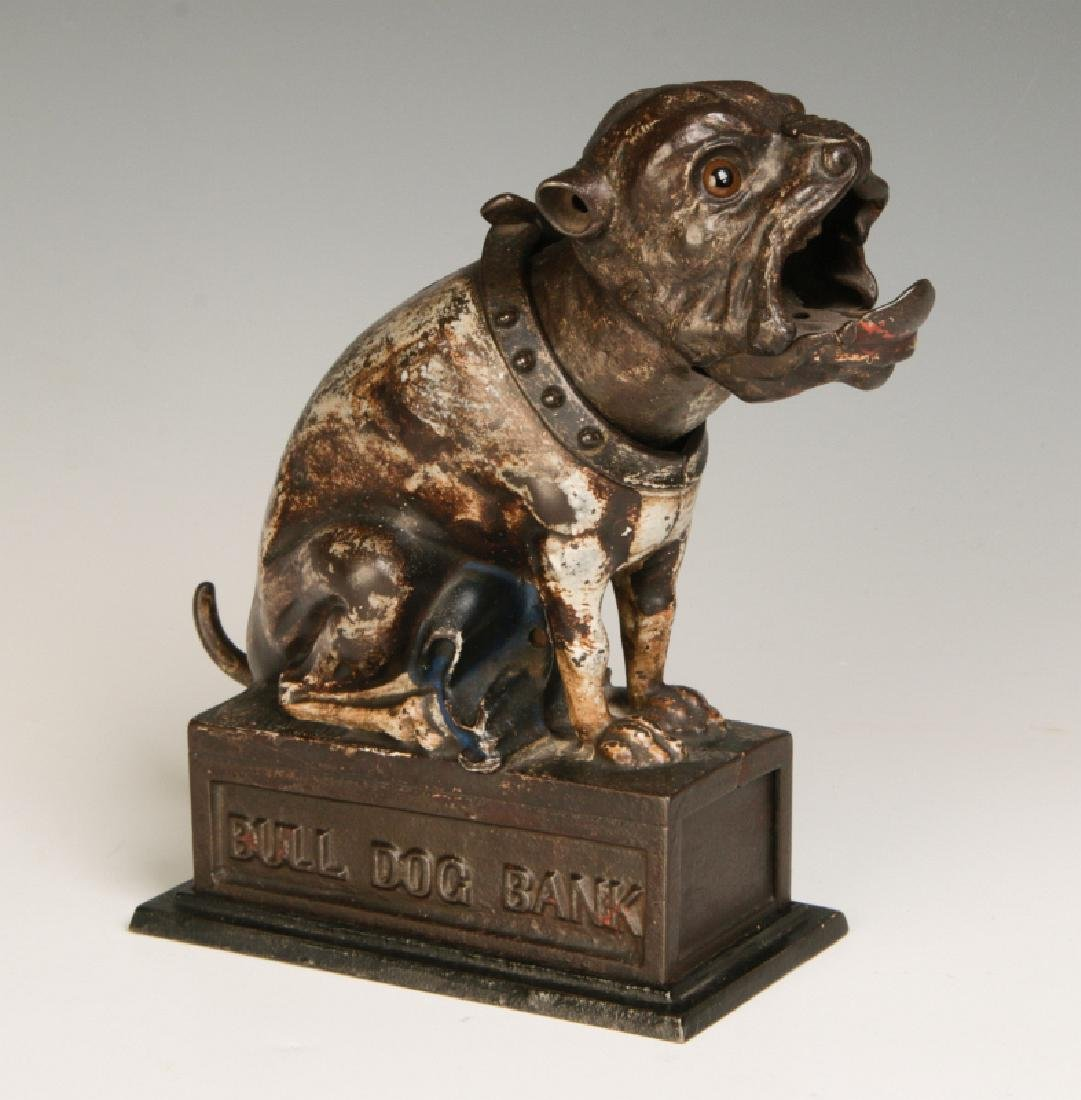 A 19TH CENTURY J&E STEVENS BULL DOG MECHANICAL BANK