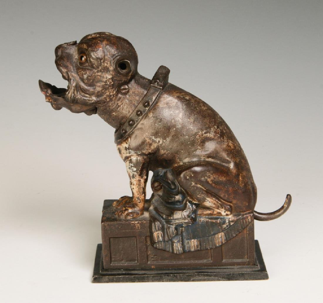 A 19TH CENTURY J&E STEVENS BULL DOG MECHANICAL BANK - 4