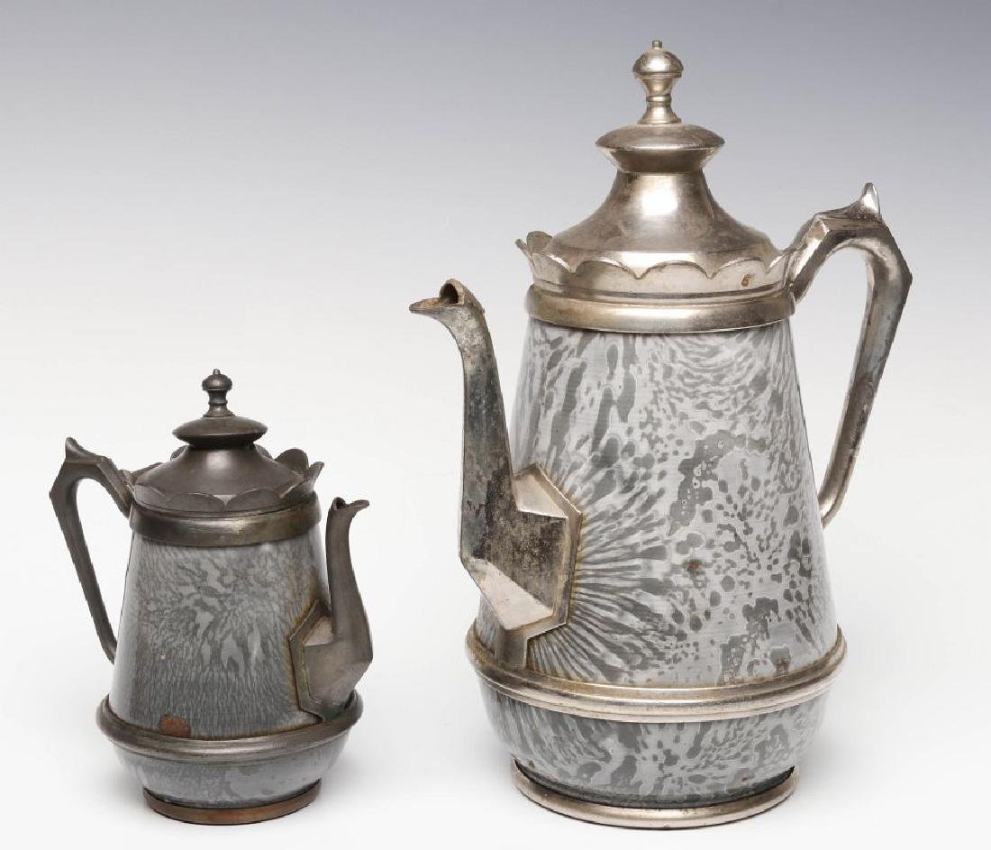 PEWTER TRIM GRAY GRANITE COFFEE POTS IN TWO SIZES