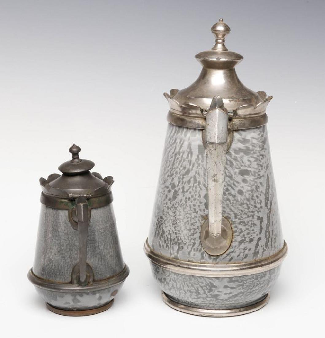 PEWTER TRIM GRAY GRANITE COFFEE POTS IN TWO SIZES - 2