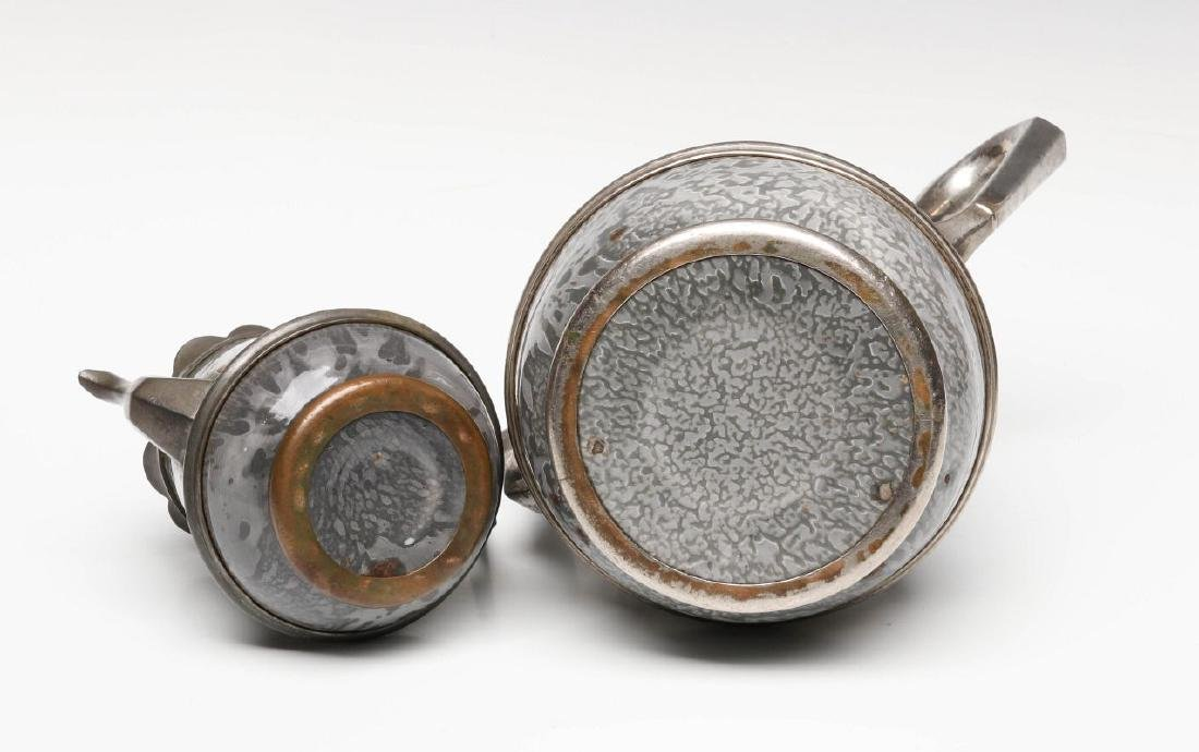 PEWTER TRIM GRAY GRANITE COFFEE POTS IN TWO SIZES - 8