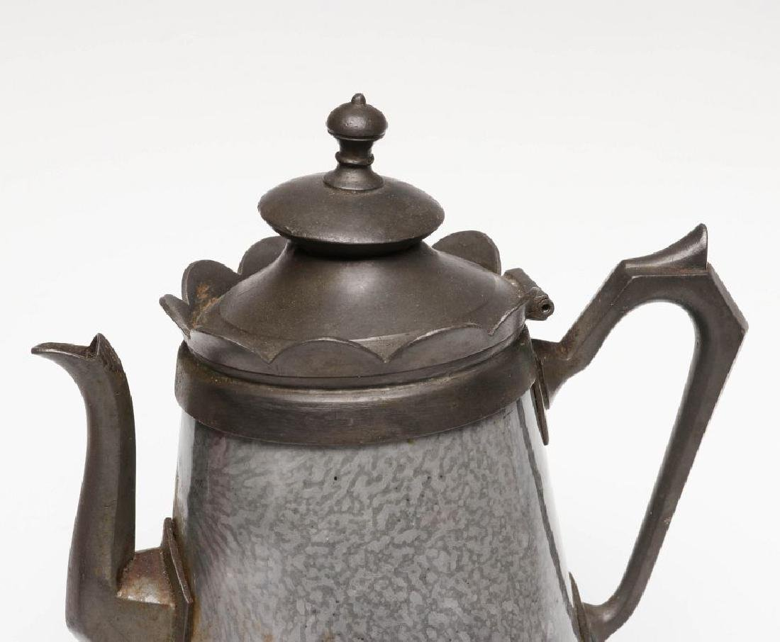 PEWTER TRIM GRAY GRANITE COFFEE POTS IN TWO SIZES - 9