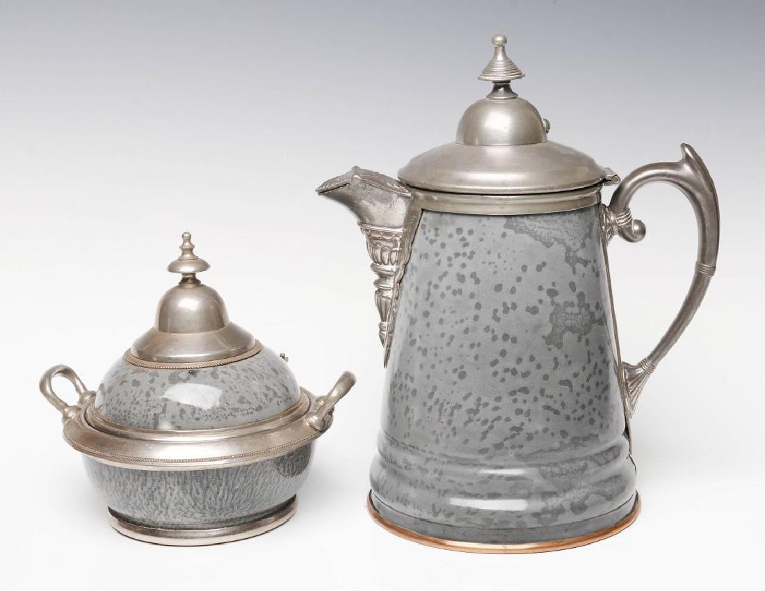 PEWTER TRIM GRAY GRANITE COFFEE POT AND SUGAR