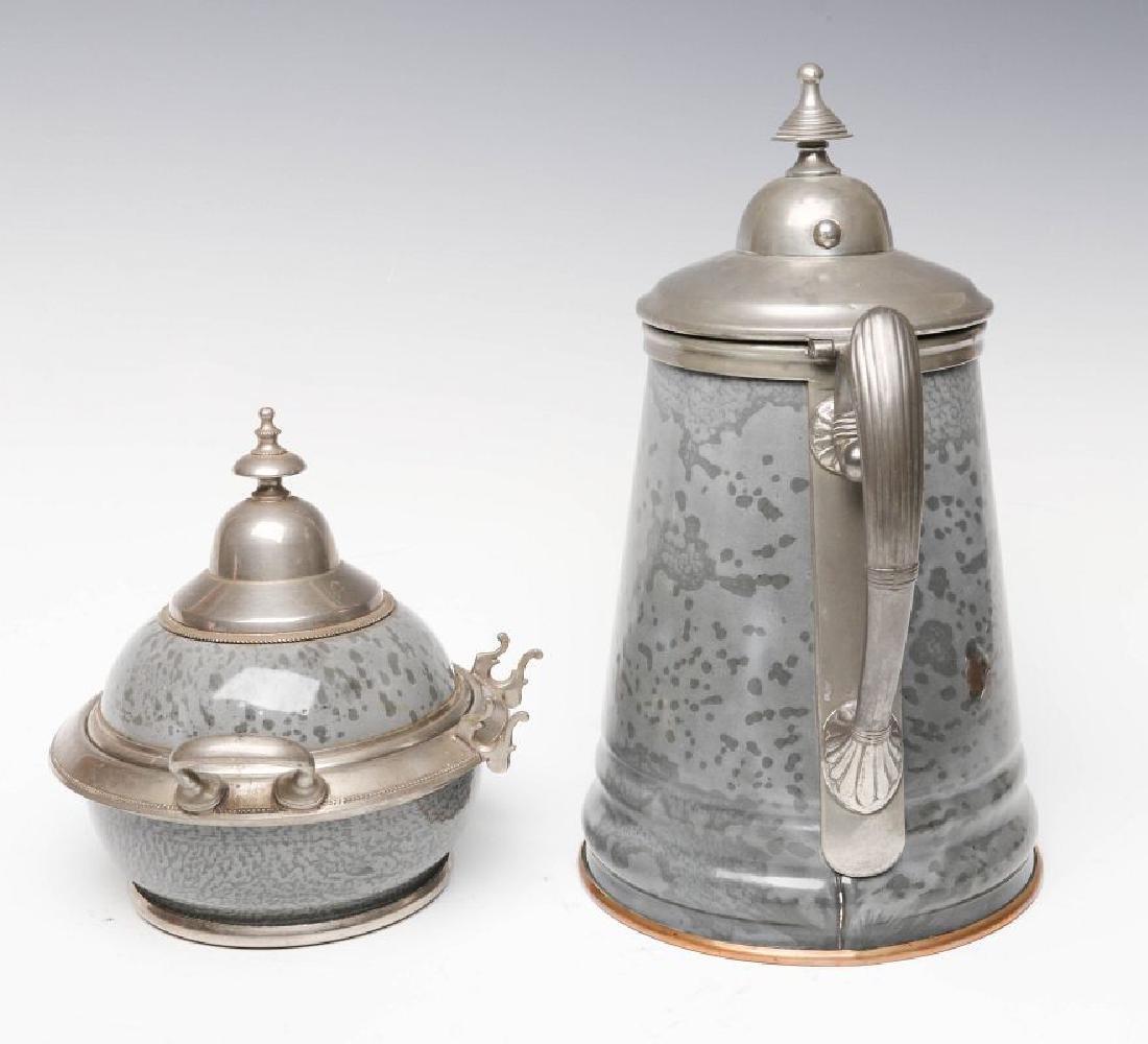 PEWTER TRIM GRAY GRANITE COFFEE POT AND SUGAR - 4