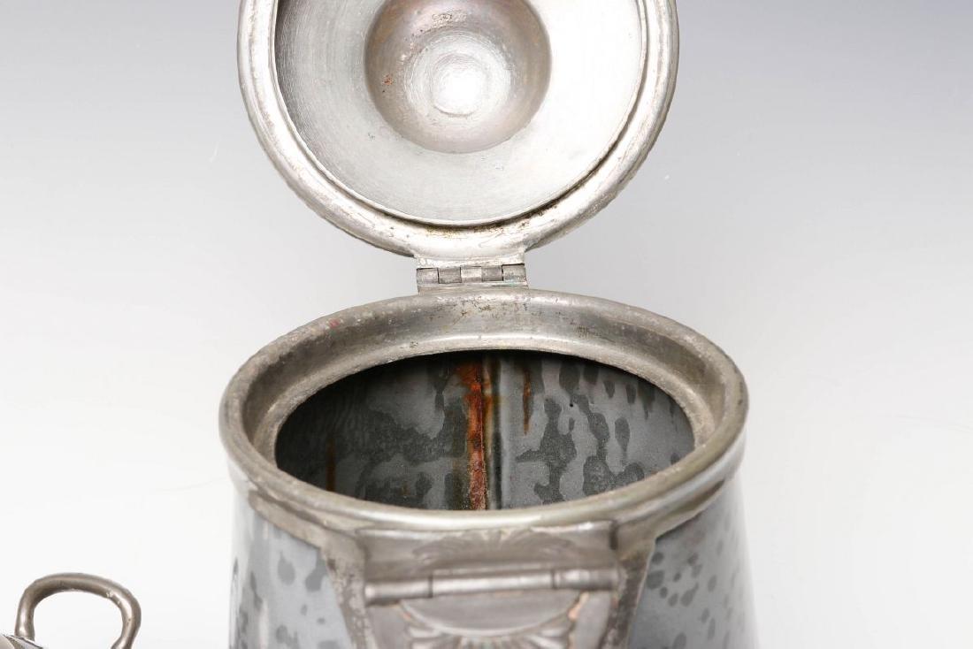 PEWTER TRIM GRAY GRANITE COFFEE POT AND SUGAR - 7