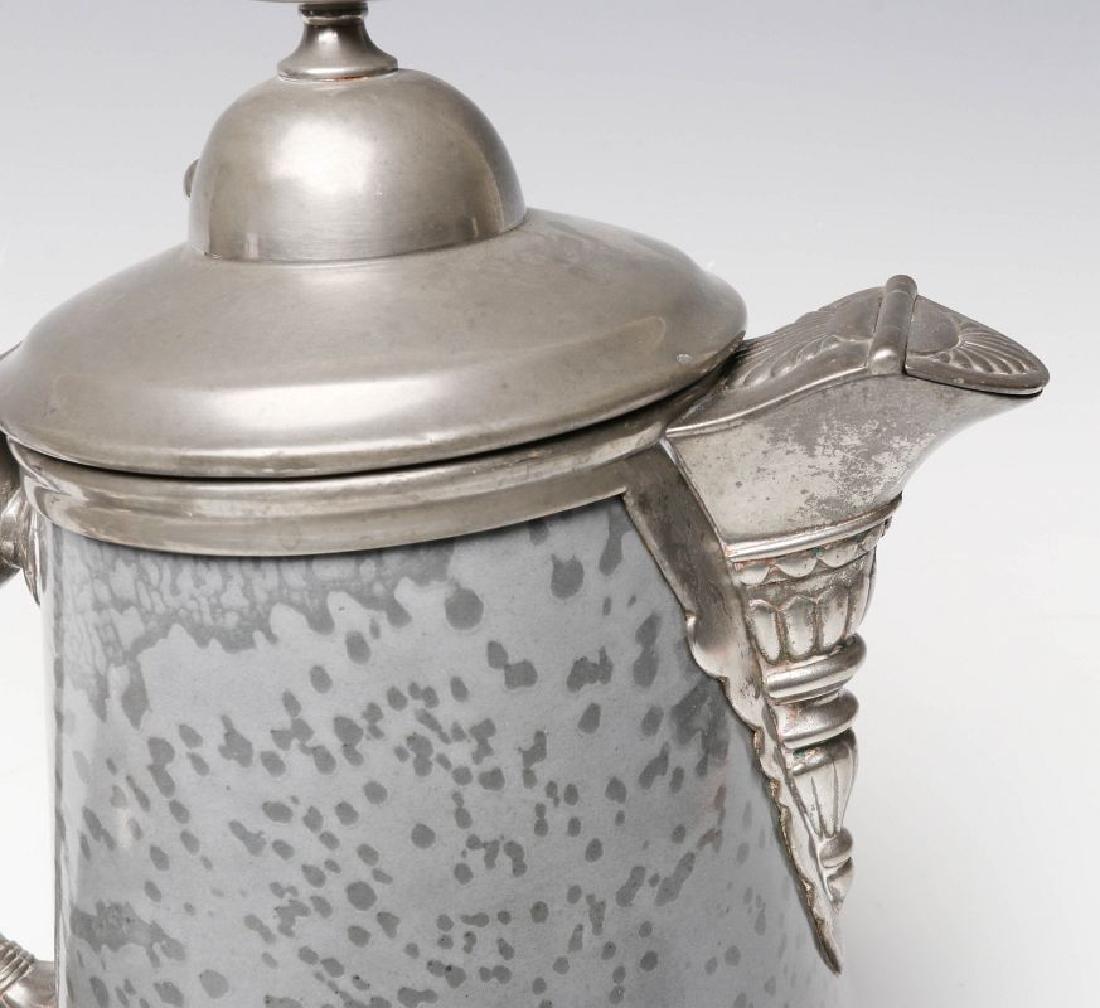 PEWTER TRIM GRAY GRANITE COFFEE POT AND SUGAR - 8