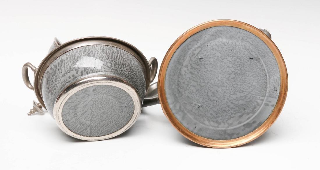 PEWTER TRIM GRAY GRANITE COFFEE POT AND SUGAR - 9