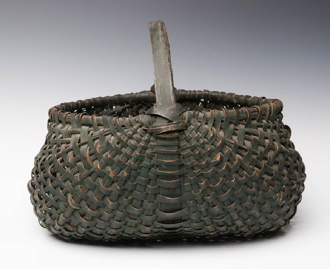 A 19TH CENTURY BUTTOCKS BASKET IN OLD GREEN PAINT - 3