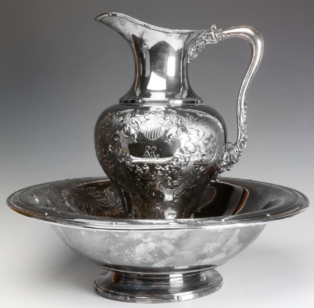 A LARGE AND UNUSUAL SILVER PLATE BOWL AND PITCHER