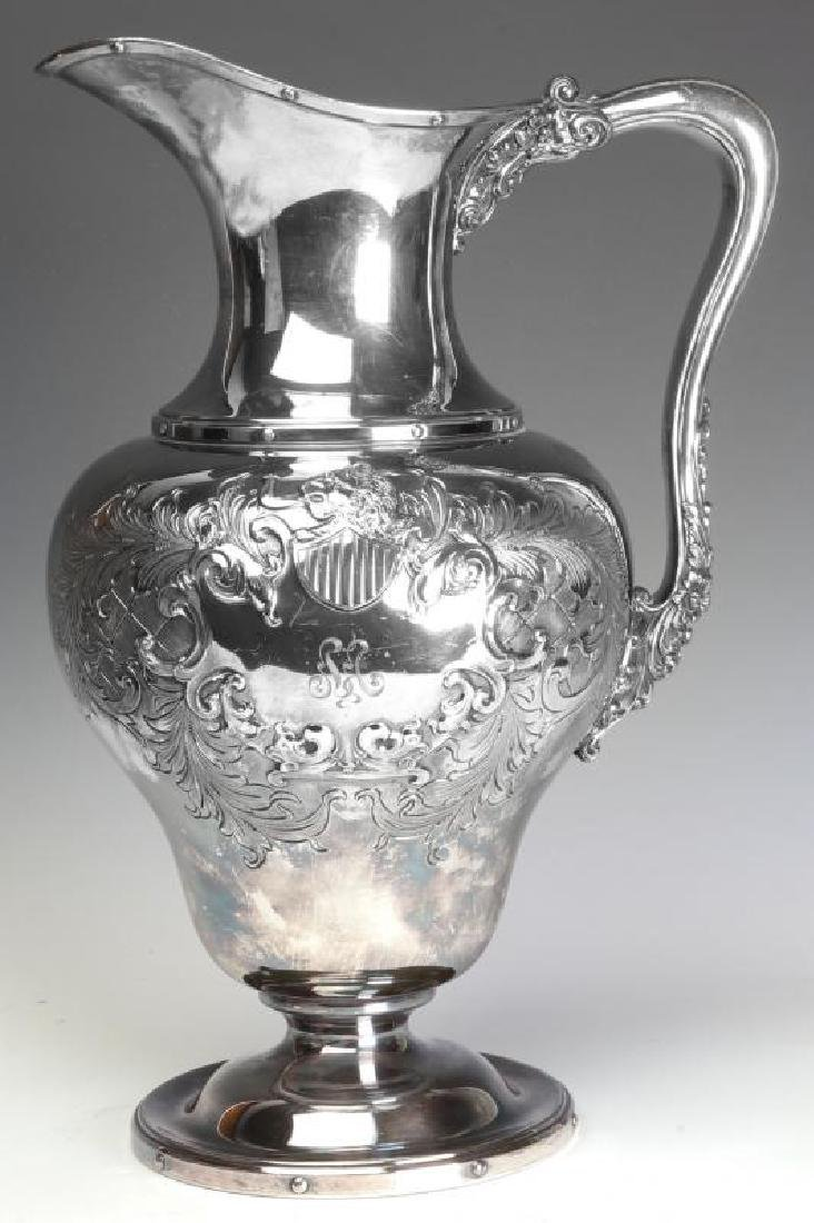 A LARGE AND UNUSUAL SILVER PLATE BOWL AND PITCHER - 2