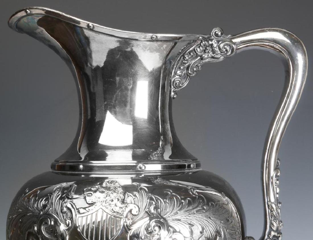 A LARGE AND UNUSUAL SILVER PLATE BOWL AND PITCHER - 3
