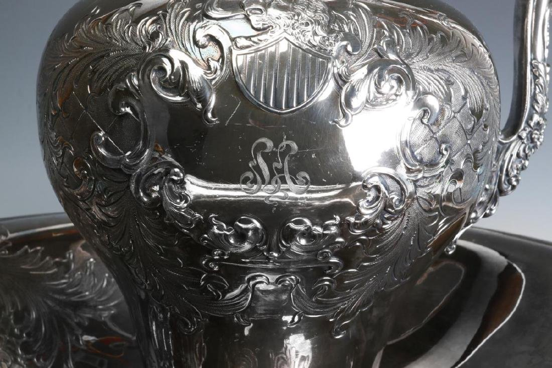 A LARGE AND UNUSUAL SILVER PLATE BOWL AND PITCHER - 5
