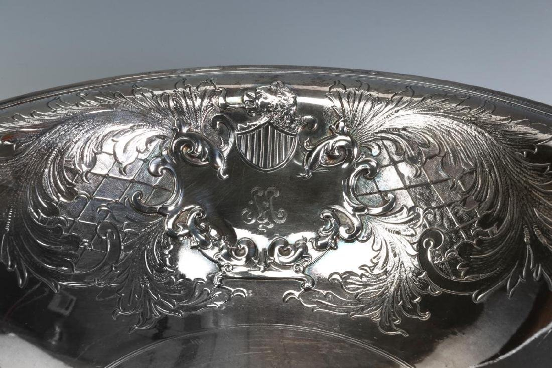 A LARGE AND UNUSUAL SILVER PLATE BOWL AND PITCHER - 6