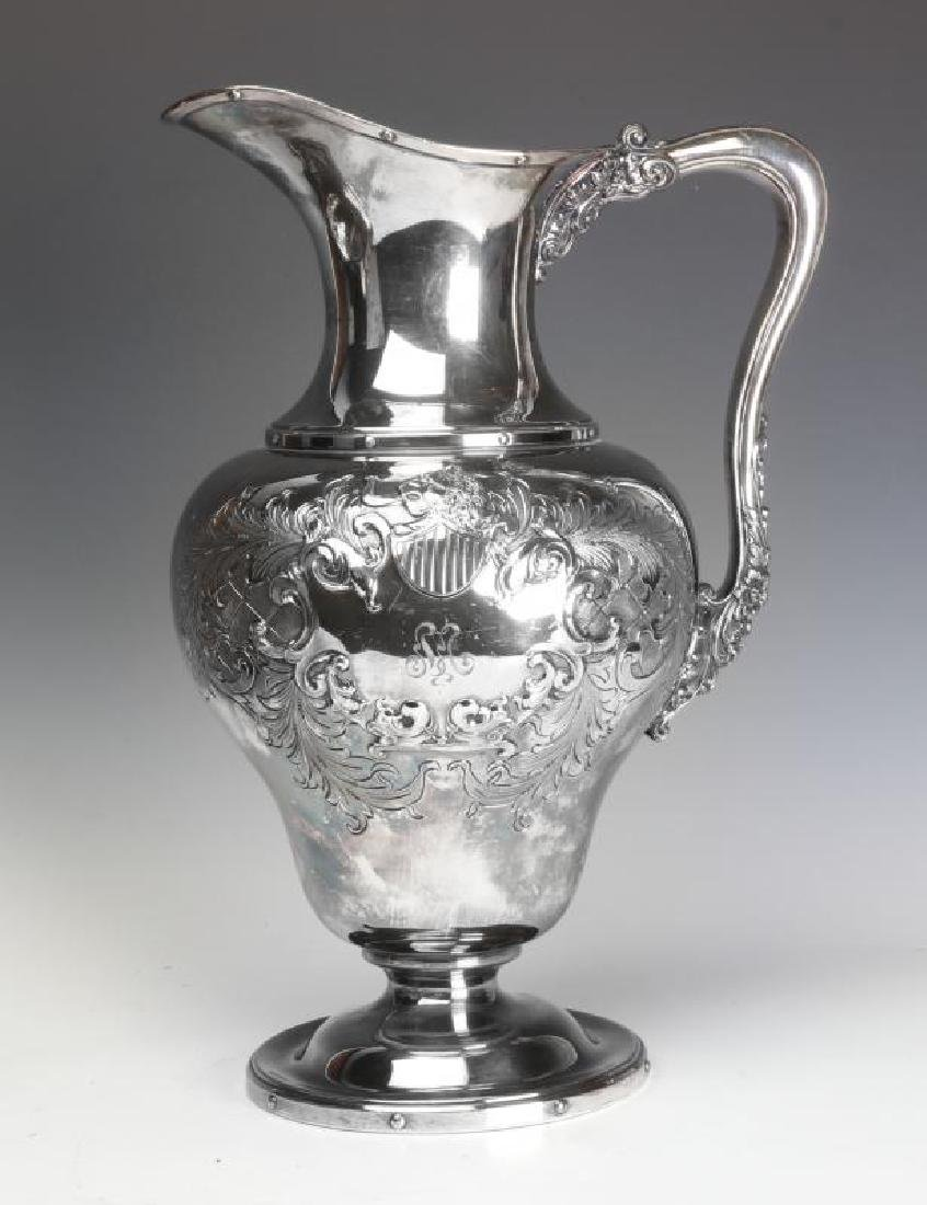 A LARGE AND UNUSUAL SILVER PLATE BOWL AND PITCHER - 8