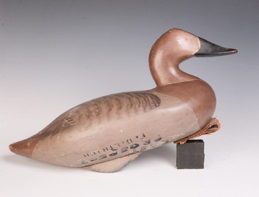 A CARVED AND PAINTED CANVAS BACK HEN DUCK DECOY - 5