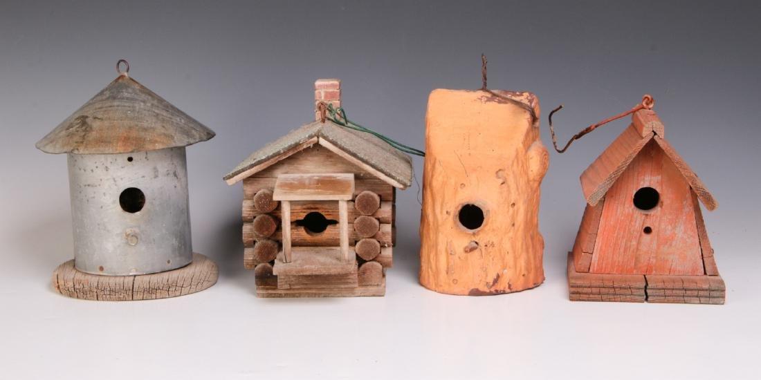 FOUR UNIQUE VINTAGE BIRD HOUSES OF VARIOUS TYPES