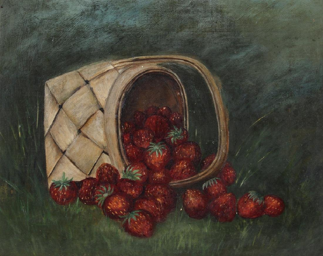 AMERICAN SCHOOL STILL LIFE WITH STRAWBERRIES