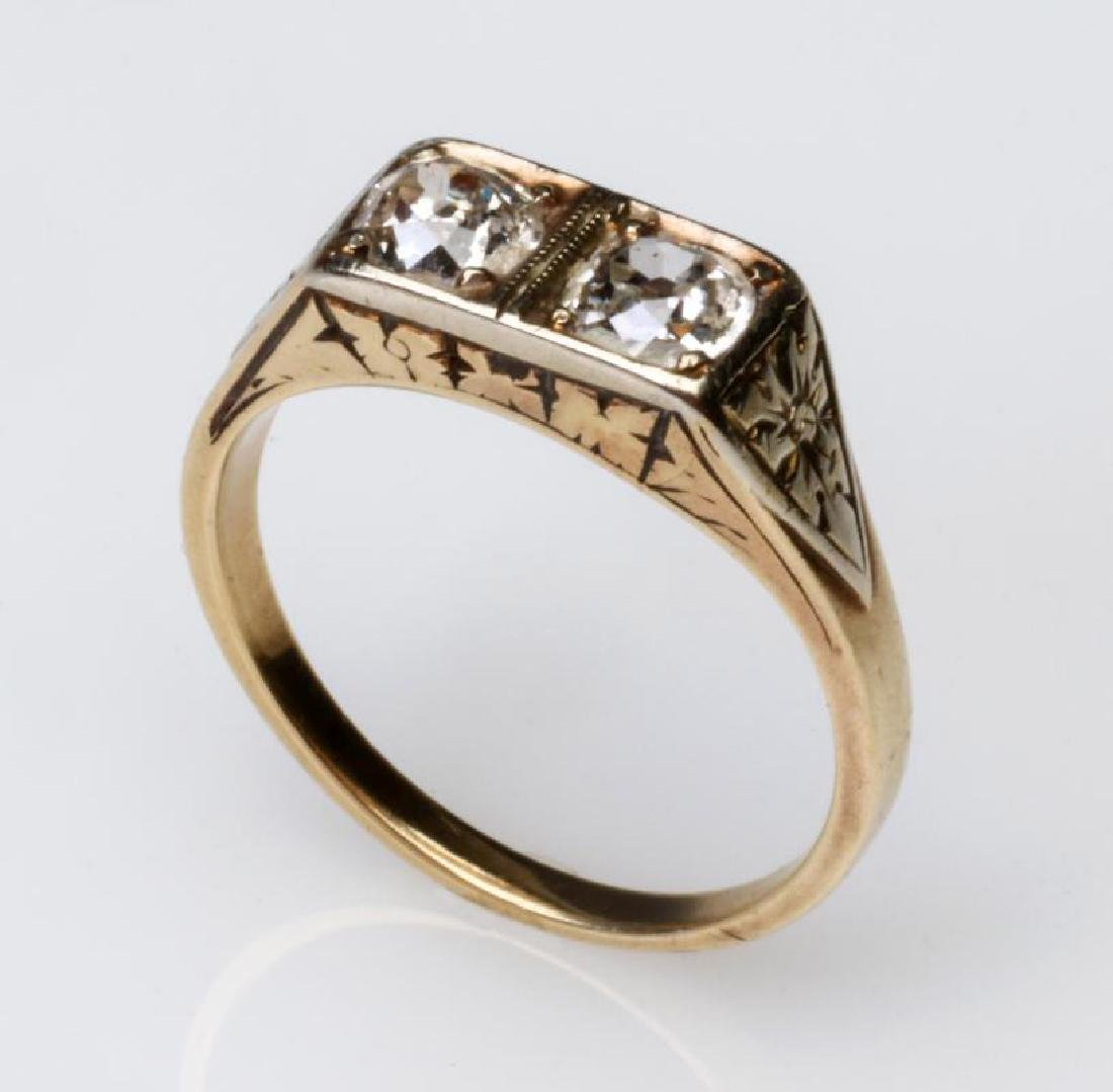 AN ANTIQUE 14K GOLD DIAMOND RING -APPROX 1/2 CARAT