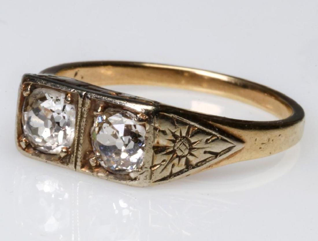 AN ANTIQUE 14K GOLD DIAMOND RING -APPROX 1/2 CARAT - 2
