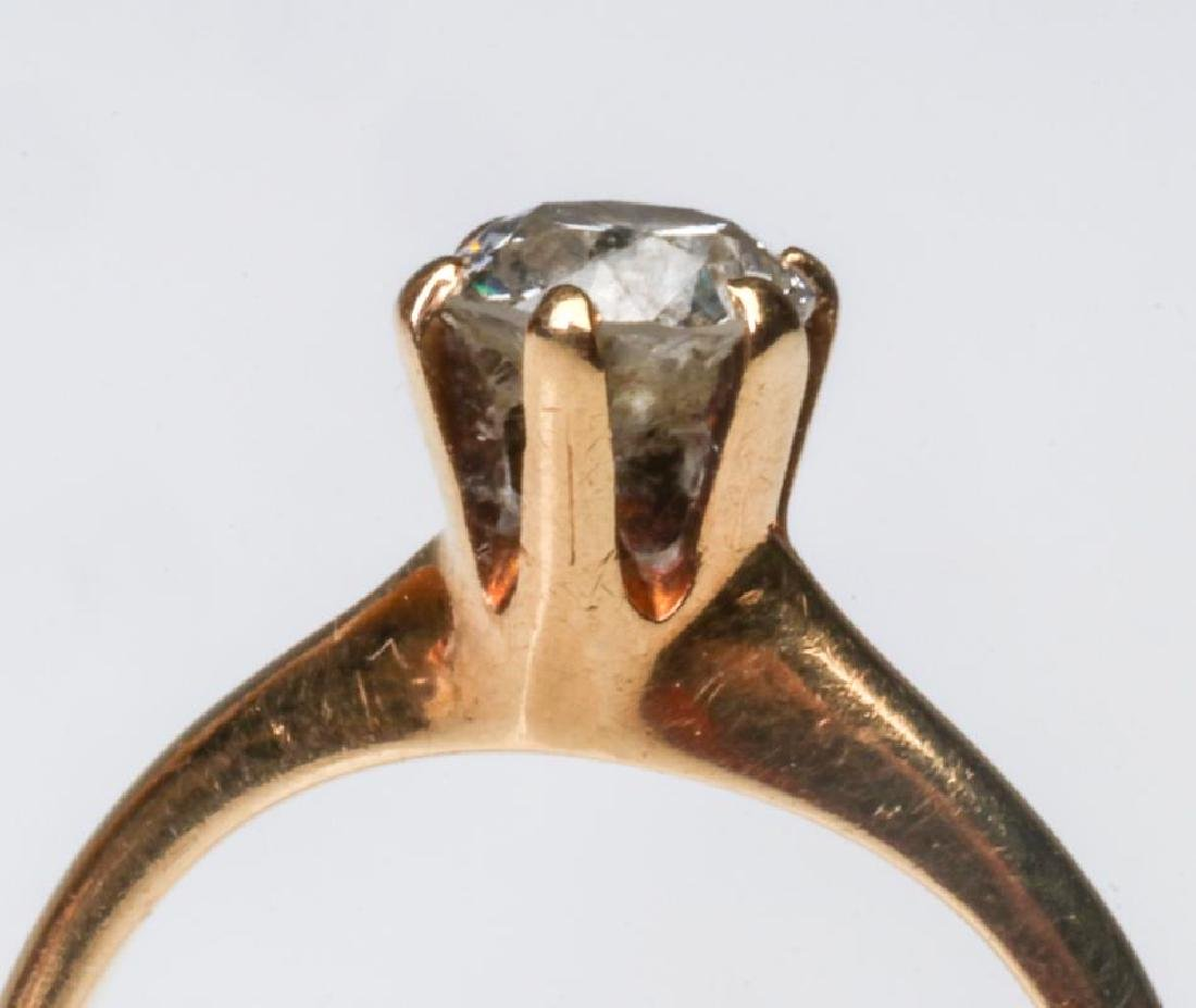 A 14K AND DIAMOND SOLITAIRE RING, APPROX .50 CT - 2