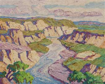 BIRGER SANDZEN (1871-1954) OIL ON ARTIST'S BOARD