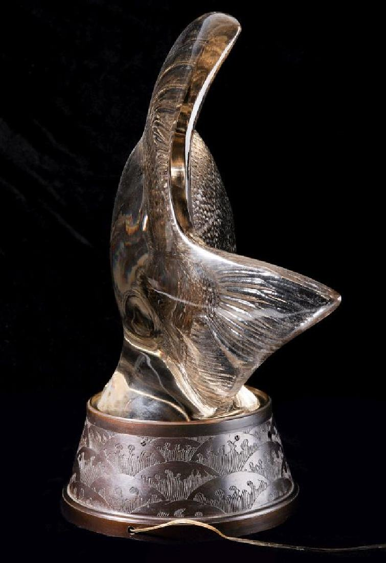 RENE LALIQUE GROS POISSONS VAGUES CRYSTAL LUMIERE - 10