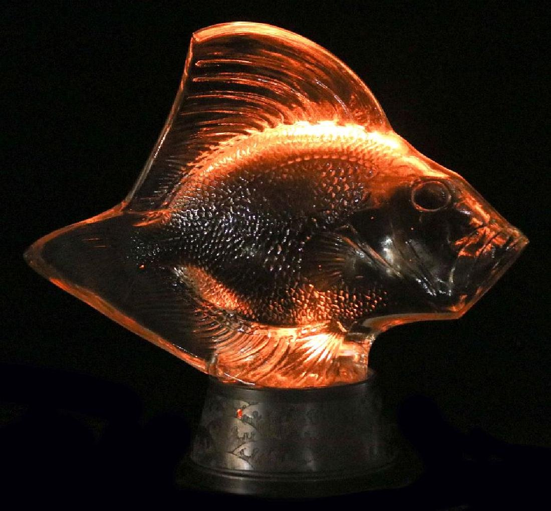 RENE LALIQUE GROS POISSONS VAGUES CRYSTAL LUMIERE - 7