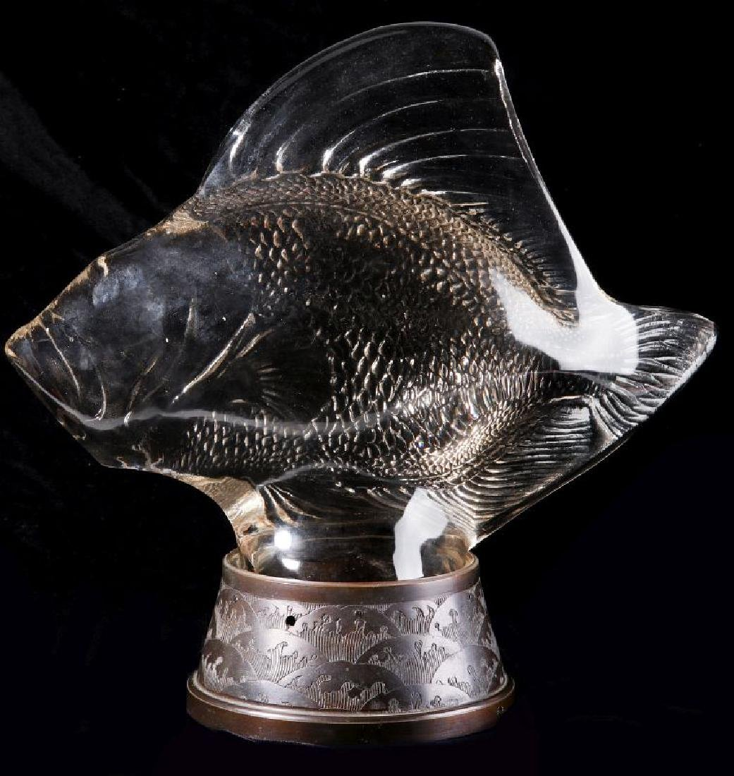 RENE LALIQUE GROS POISSONS VAGUES CRYSTAL LUMIERE - 9