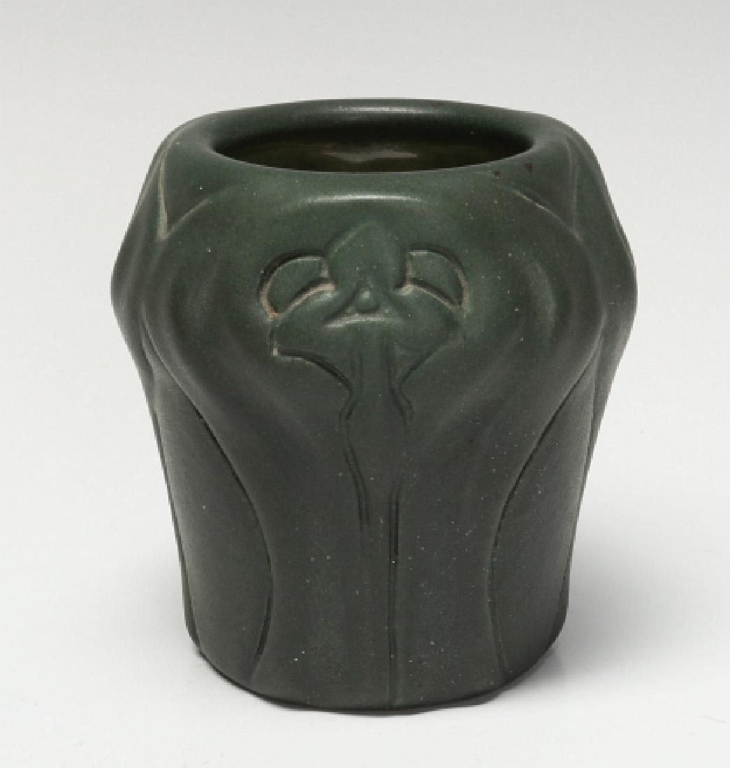 A MATTE GREEN VAN BRIGGLE VASE, # 310, DATED 1902 - 3