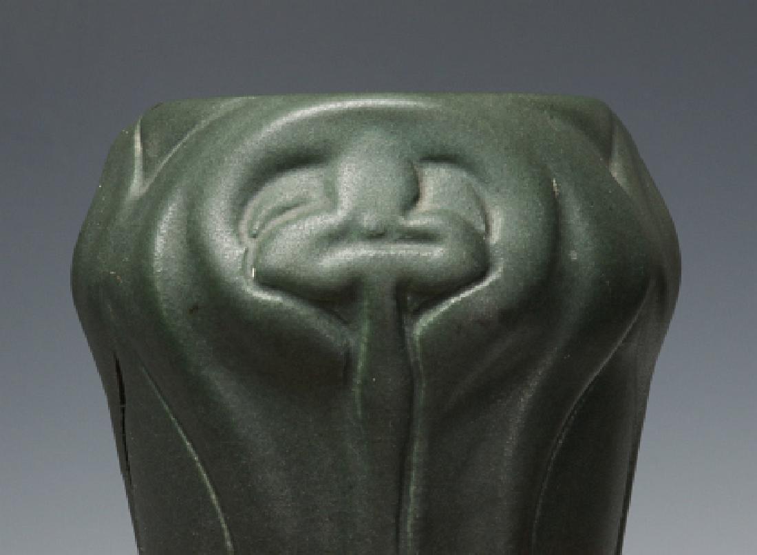A MATTE GREEN VAN BRIGGLE VASE, # 310, DATED 1902 - 6