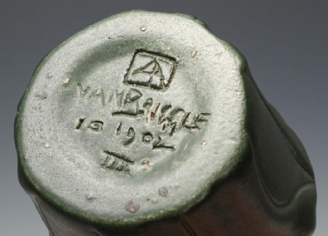 A MATTE GREEN VAN BRIGGLE VASE, # 310, DATED 1902 - 9