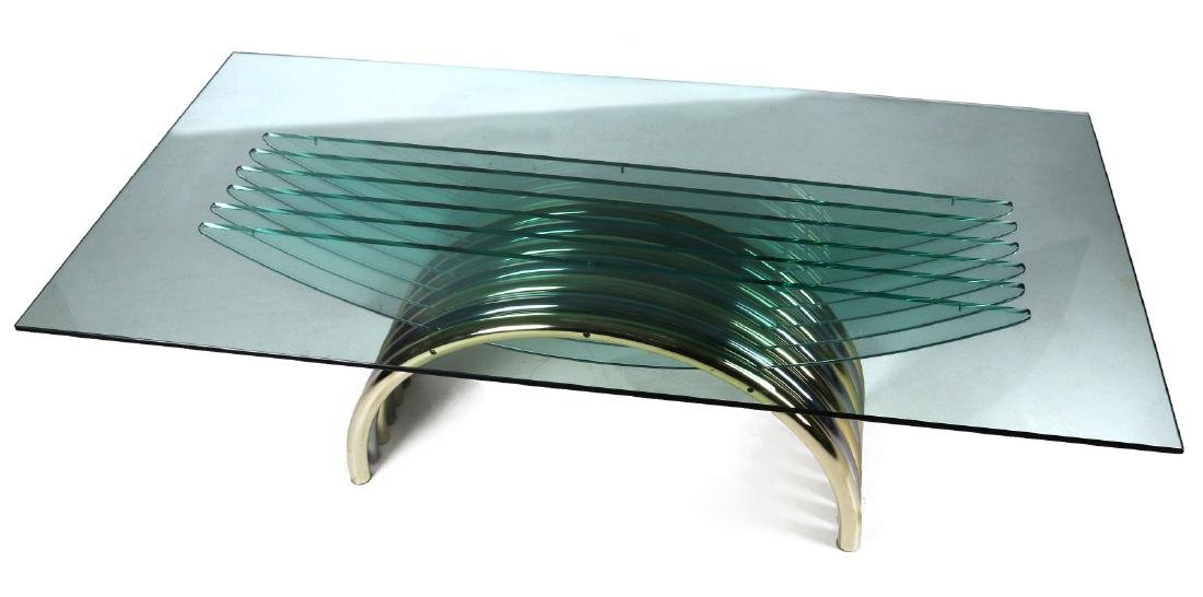A MODERN GLASS/CHROME DINING TABLE ATT RENATO ZEVI