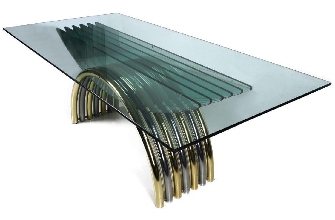 A MODERN GLASS/CHROME DINING TABLE ATT RENATO ZEVI - 2