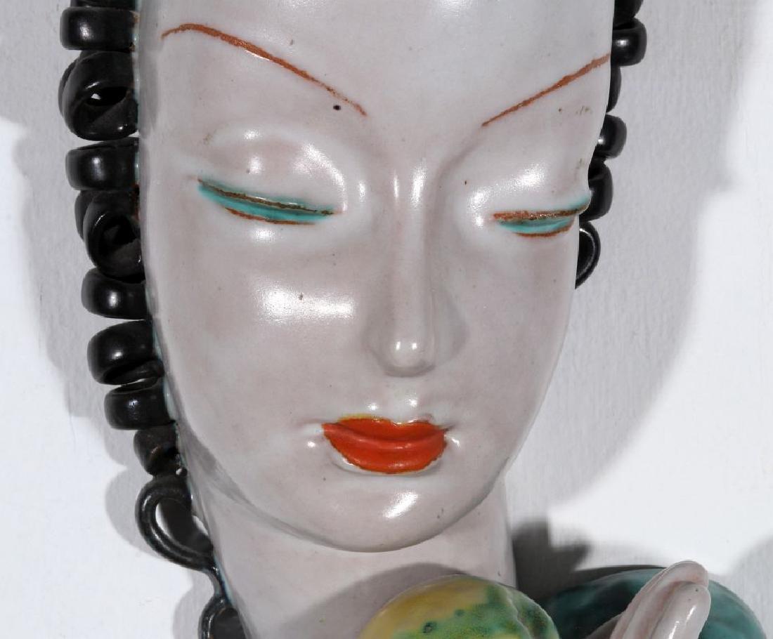 A GOLDSCHEIDER ART DECO GLAZED TERRA COTTA MASK - 3