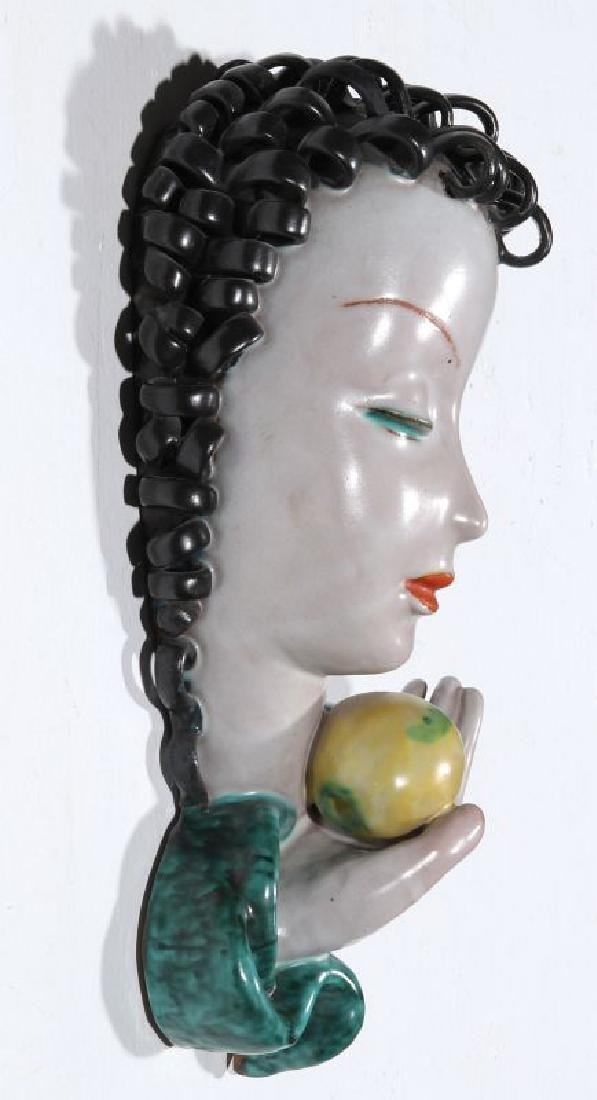 A GOLDSCHEIDER ART DECO GLAZED TERRA COTTA MASK - 6