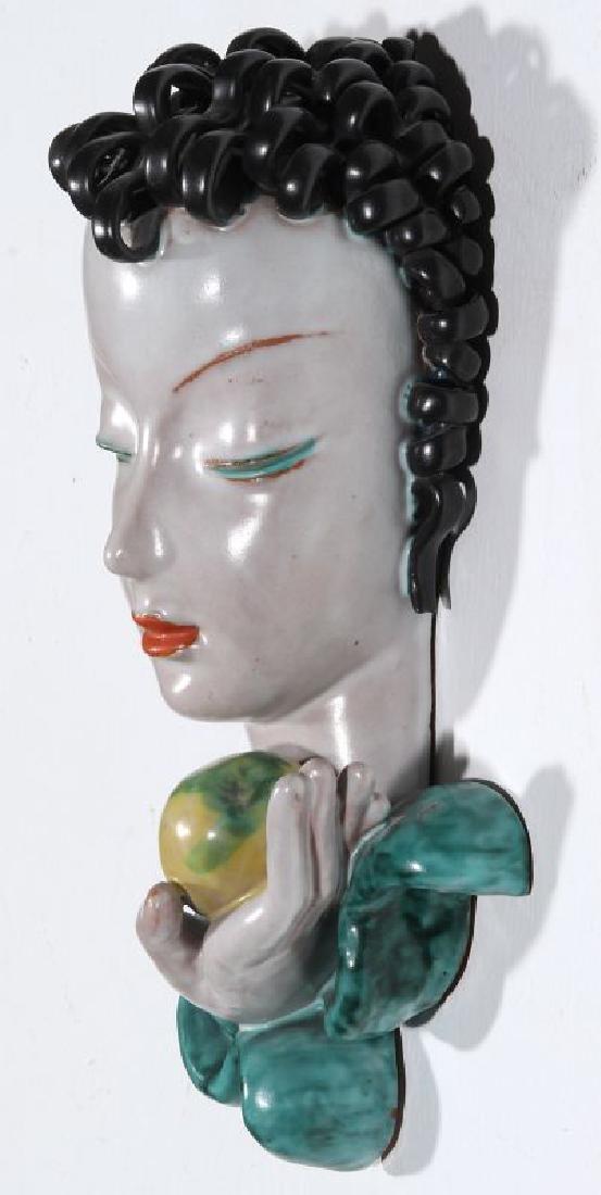 A GOLDSCHEIDER ART DECO GLAZED TERRA COTTA MASK - 7