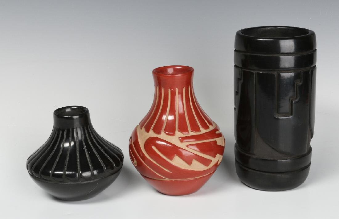 THREE CONTEMPORARY CARVED SANTA CLARA POTTERY PCS - 2