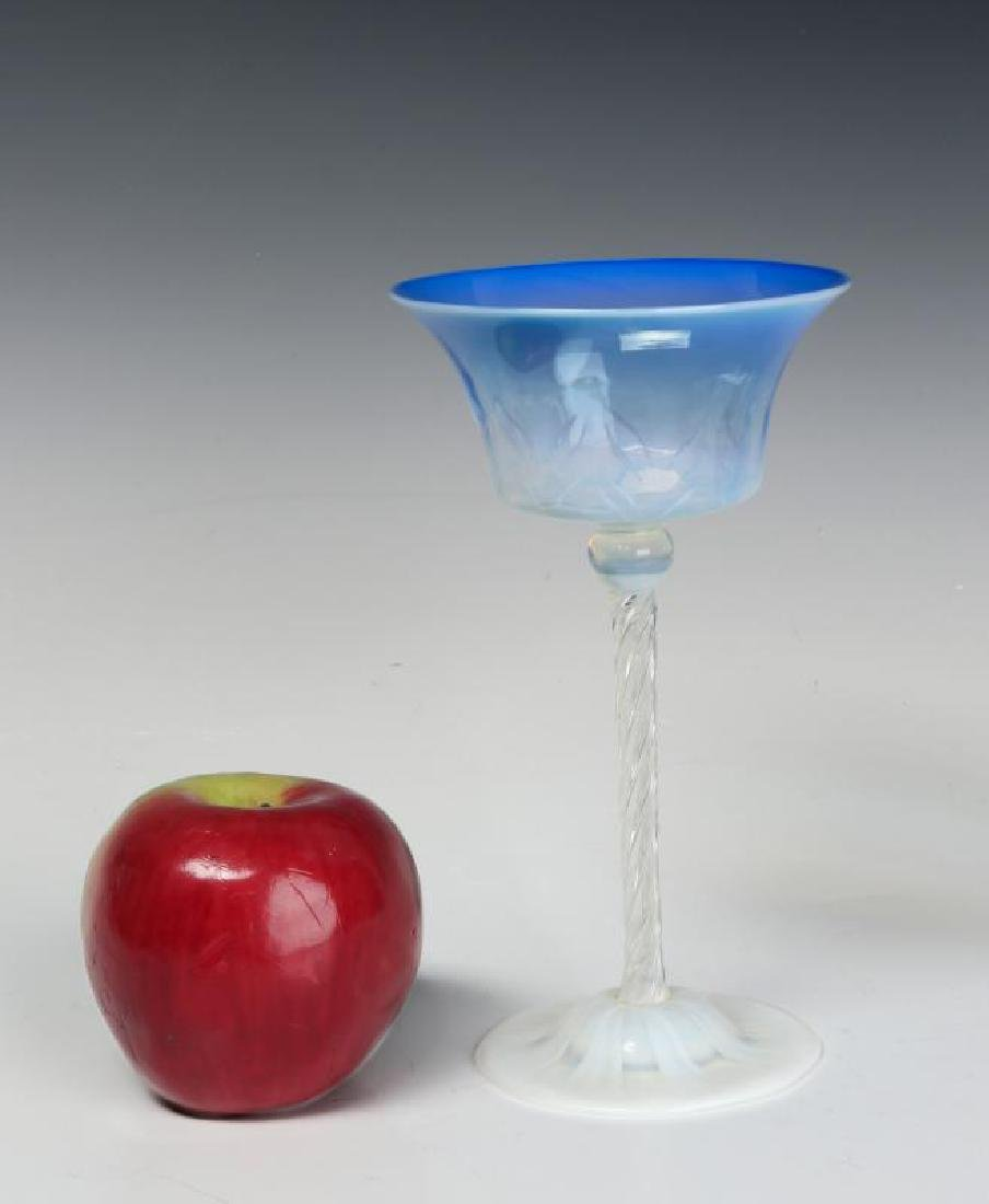A TIFFANY BLUE PASTEL WINE GOBLET WITH PAPER LABEL - 2