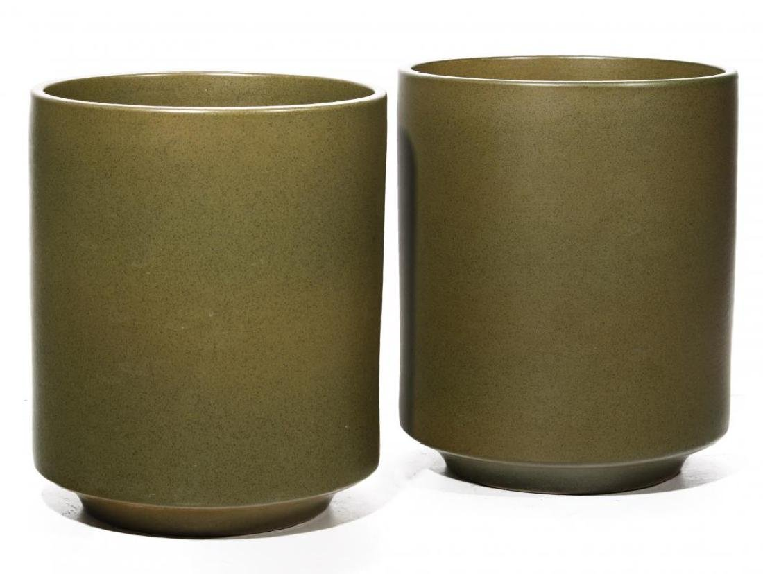 A PAIR LARGE MODERN POTTERY JARDINIERES