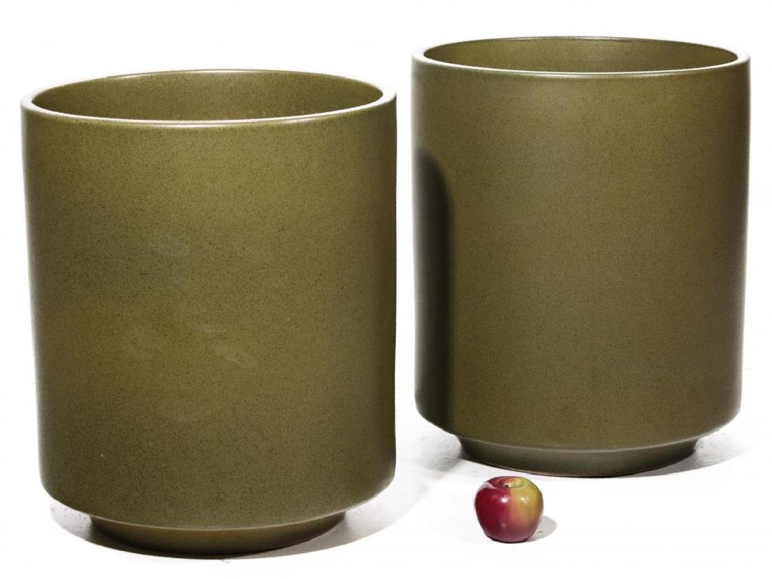 A PAIR LARGE MODERN POTTERY JARDINIERES - 2