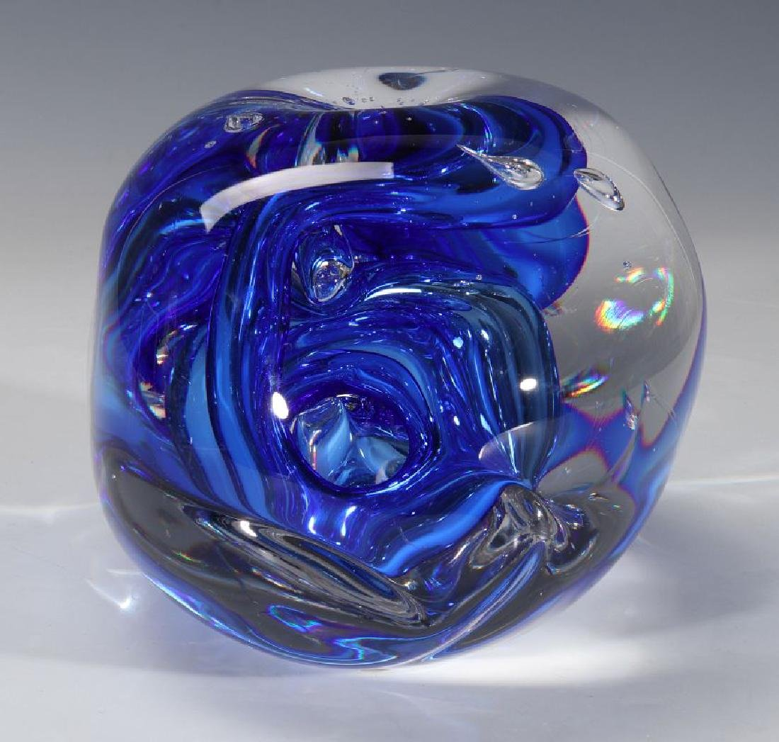 A 20TH C. STUDIO GLASS SCULPTURE SIGNED LEERDAM - 7
