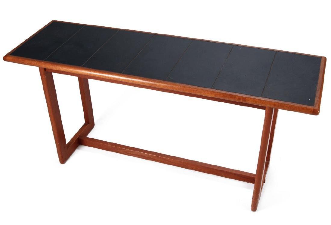 A DANISH MODERN SOFA TABLE, TEAK WITH SLATE INLAY