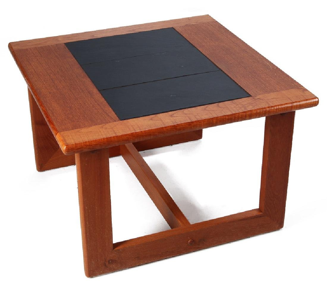 A DANISH MODERN SIDE TABLE, TEAK WITH SLATE INLAY