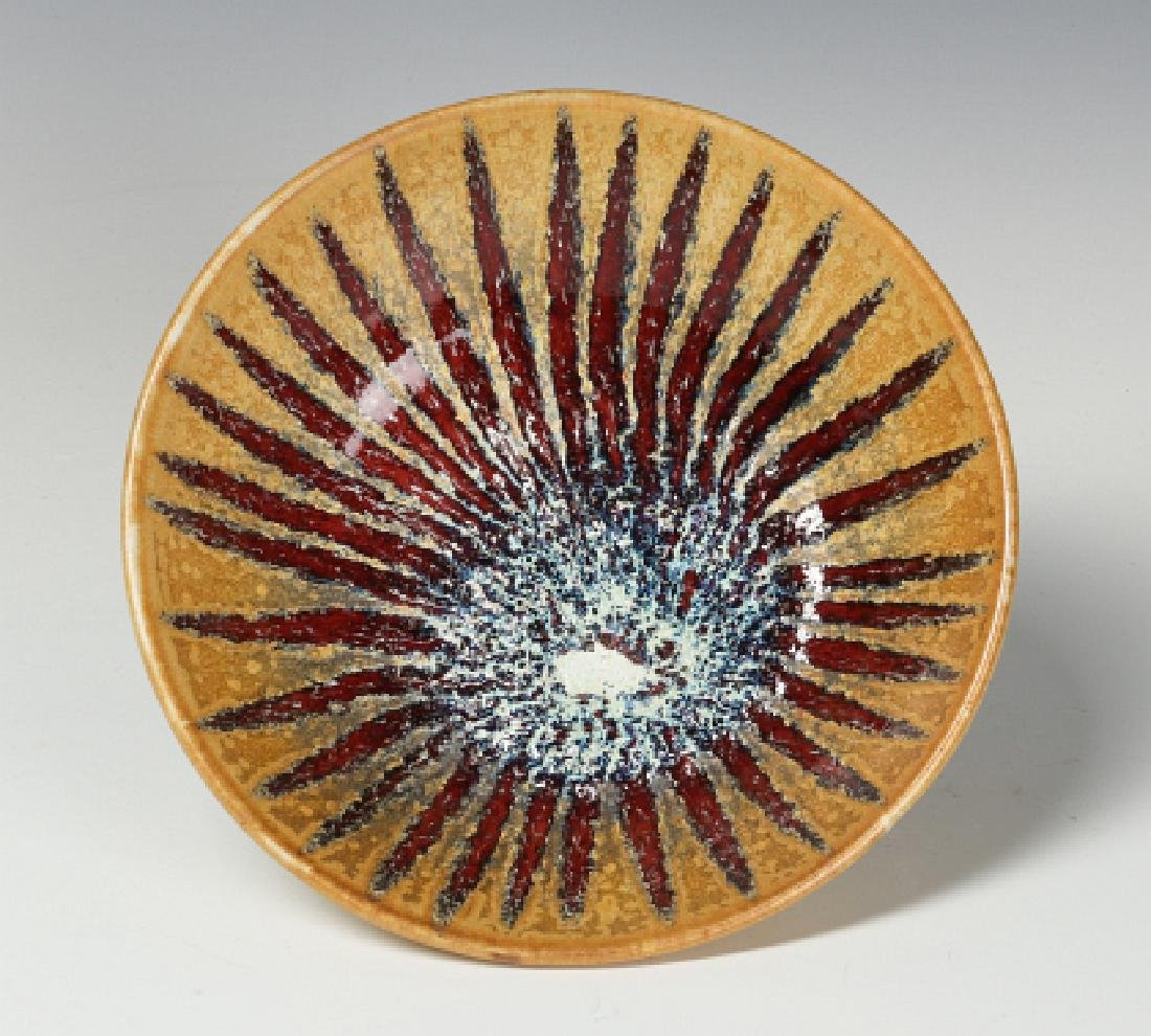 A HARDING BLACK STUDIO POTTERY SUNBURST BOWL 1988