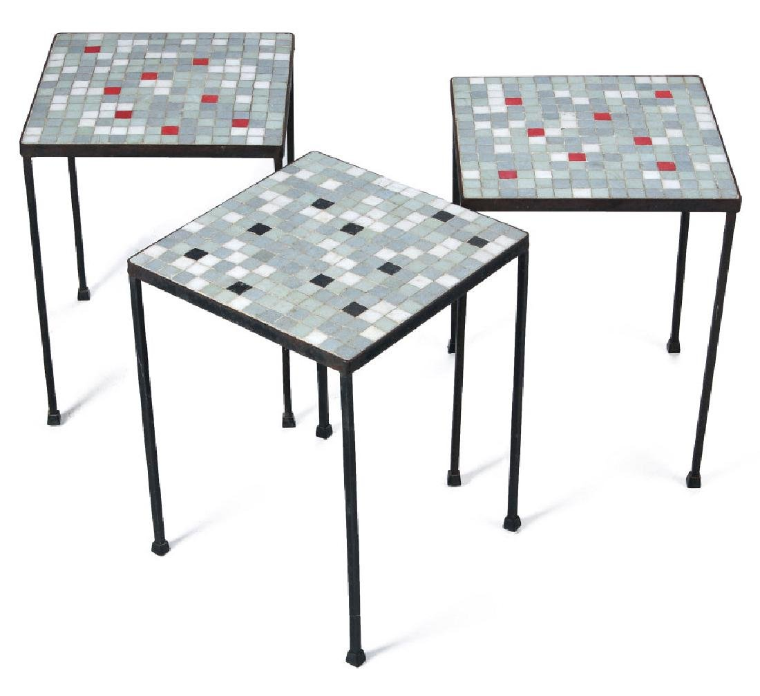 A TRIO OF MID 20TH CENT TILE TOP TABLES