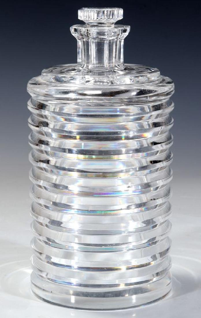 A CUT AND POLISHED CRYSTAL ART DECO BOTTLE - 2