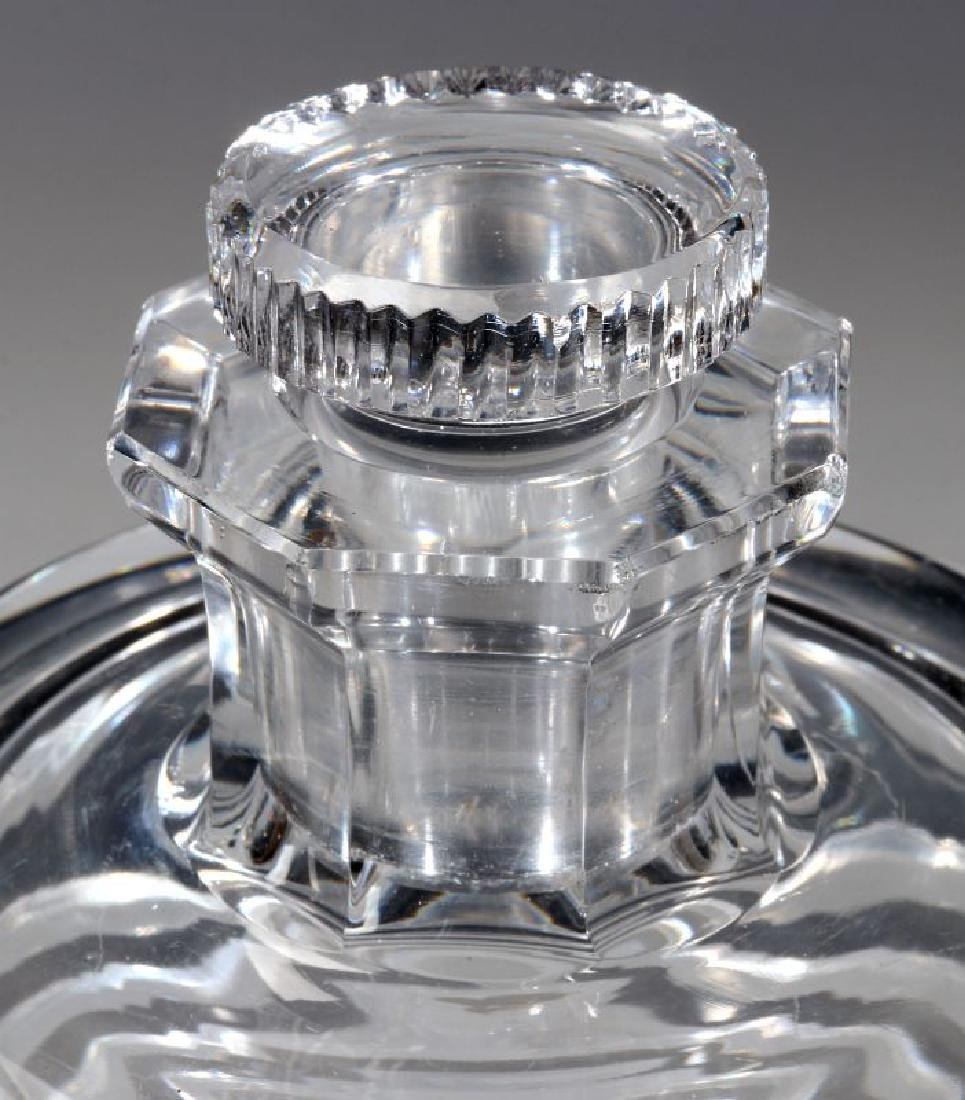 A CUT AND POLISHED CRYSTAL ART DECO BOTTLE - 3